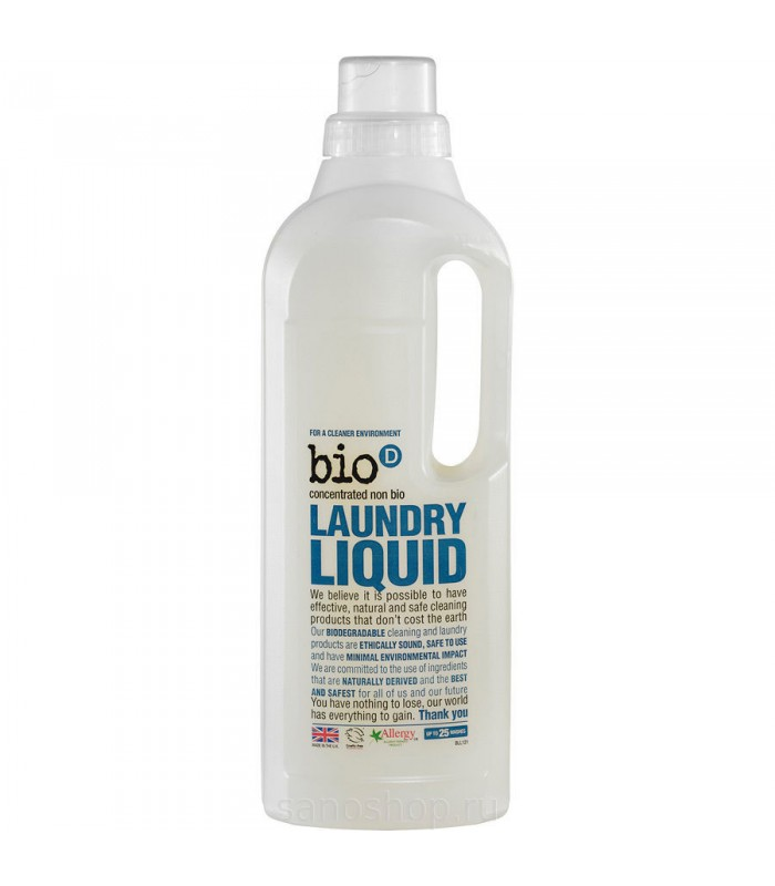 """Bio-D Koncentrēts šķidrais veļas mazgāšanas līdzeklis """"Bez smaržas"""" 1 L"""